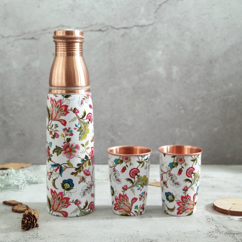 COPPER BOTTLE SET WITH 2 GLASSES, WHITE COUNTRY
