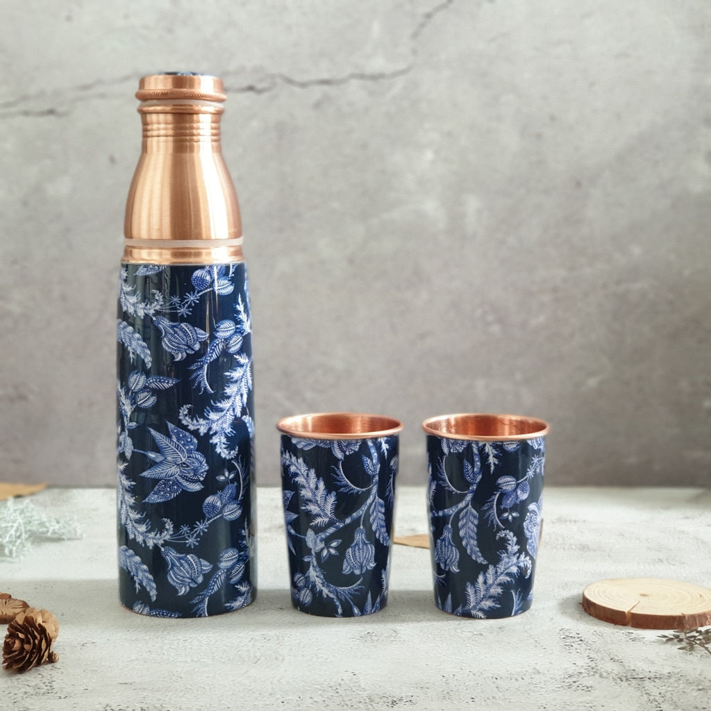 COPPER BOTTLE SET WITH 2 GLASSES, BLUE KNIGHT