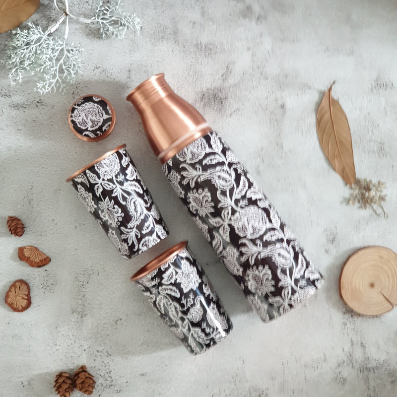 COPPER BOTTLE SET WITH 2 GLASSES, BLACK BEAUTY