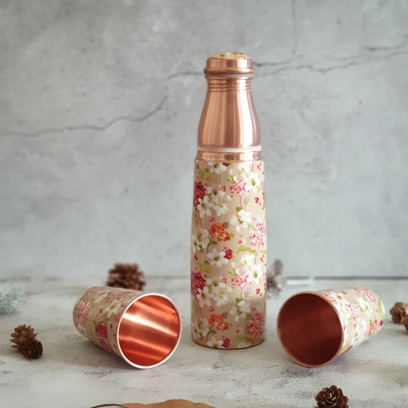 COPPER BOTTLE SET WITH 2 GLASSES, SAND DUNES