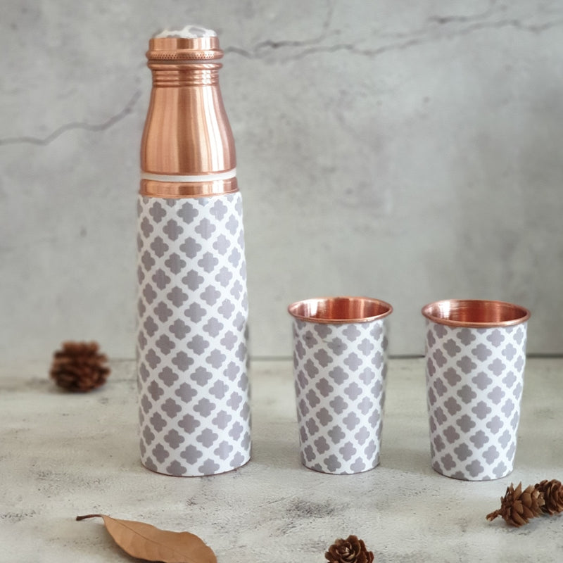 COPPER BOTTLE SET WITH 2 GLASSES, MOROCCAN GRAY