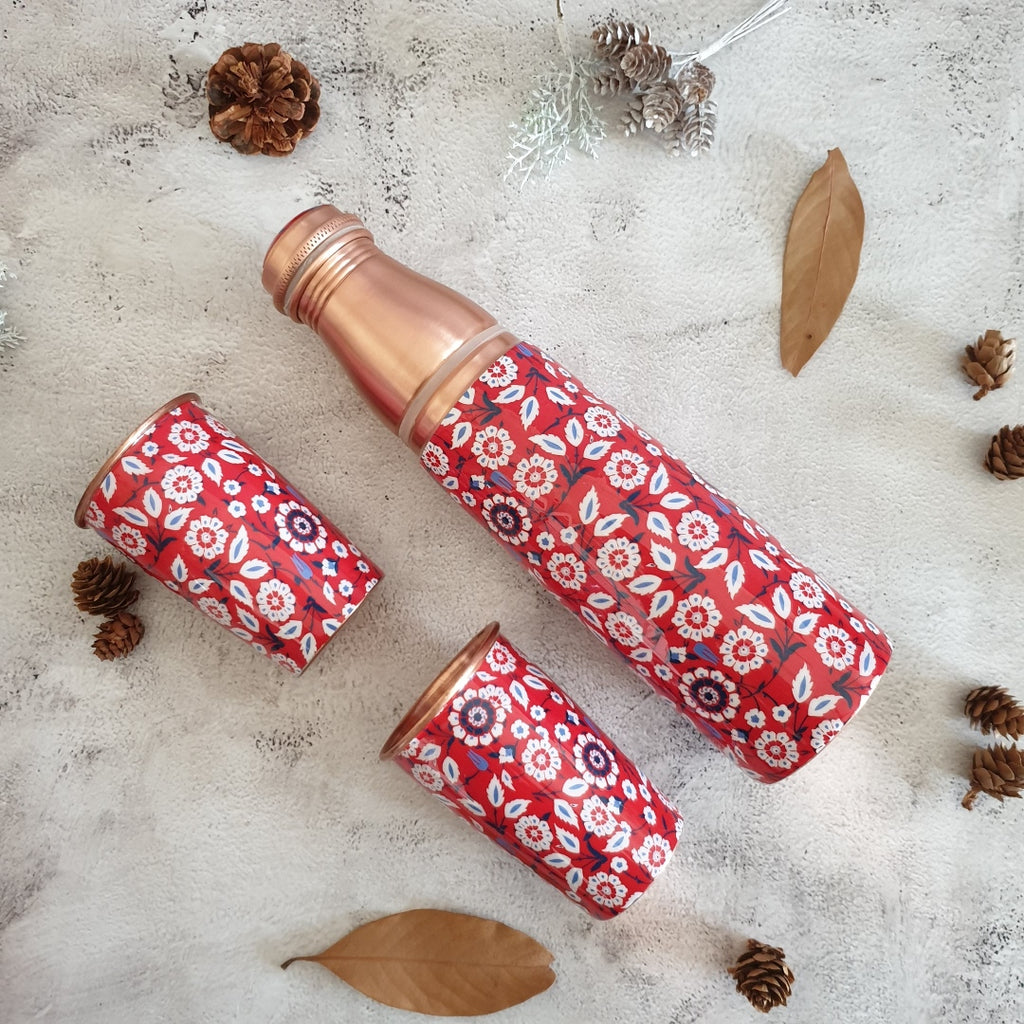 COPPER BOTTLE SET WITH 2 GLASSES, RED PEONY
