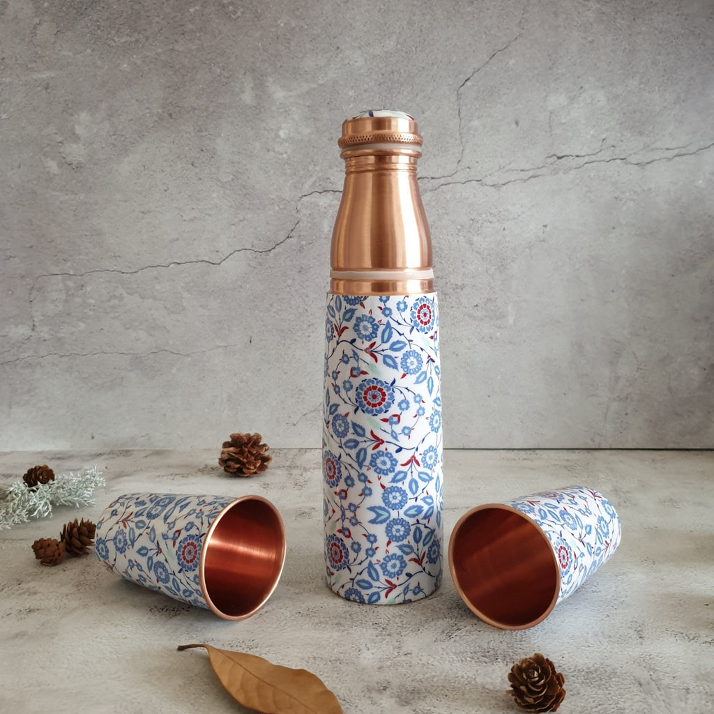 COPPER BOTTLE SET WITH 2 GLASSES, WHITE PEONY