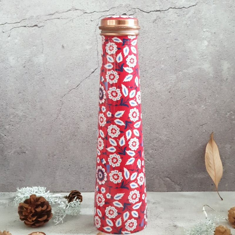 Slim Copper Bottle, 750 ML, Red Peony