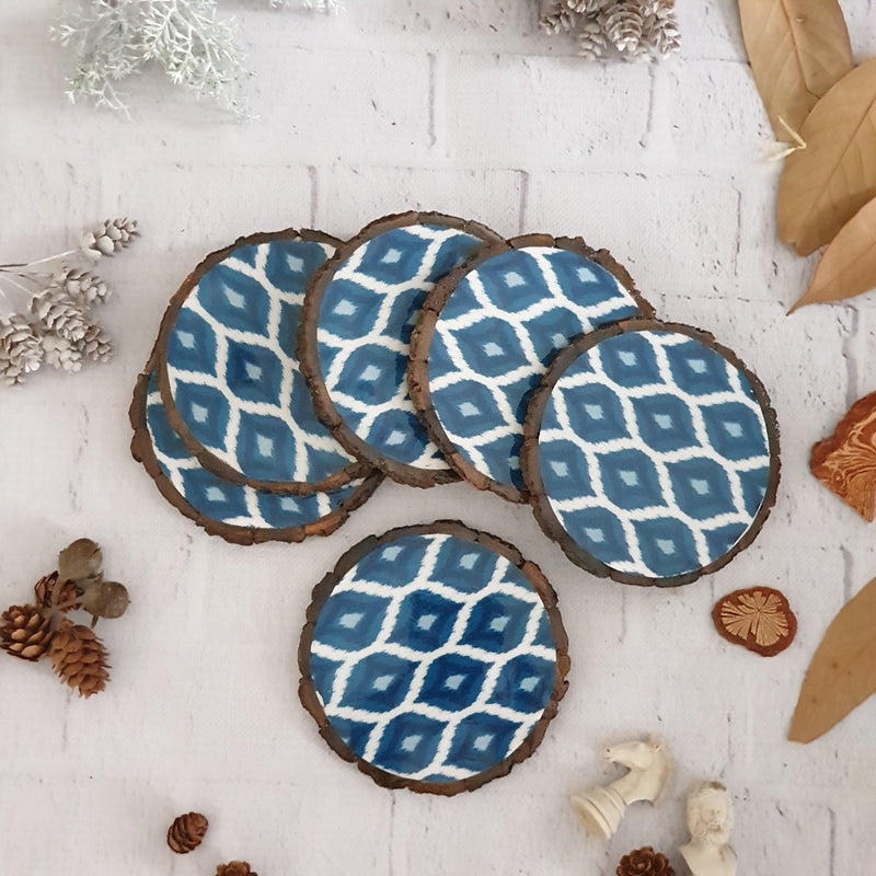 BLUE & WHITE IKAT WOOD BARK COASTERS, SET OF 6