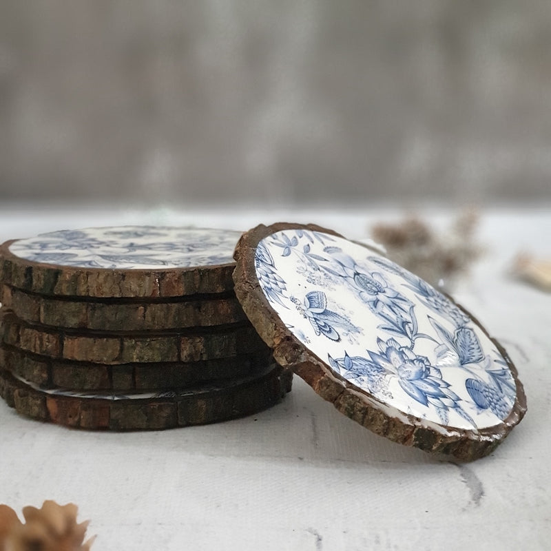 SUMMER BLUE WOOD BARK COASTERS, SET OF 6