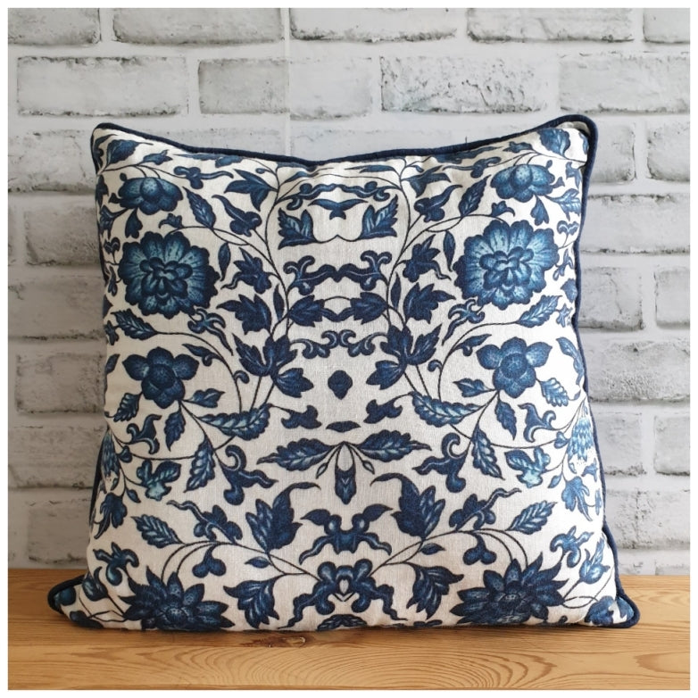 Cushion - Linen - Indigo Blue Floral