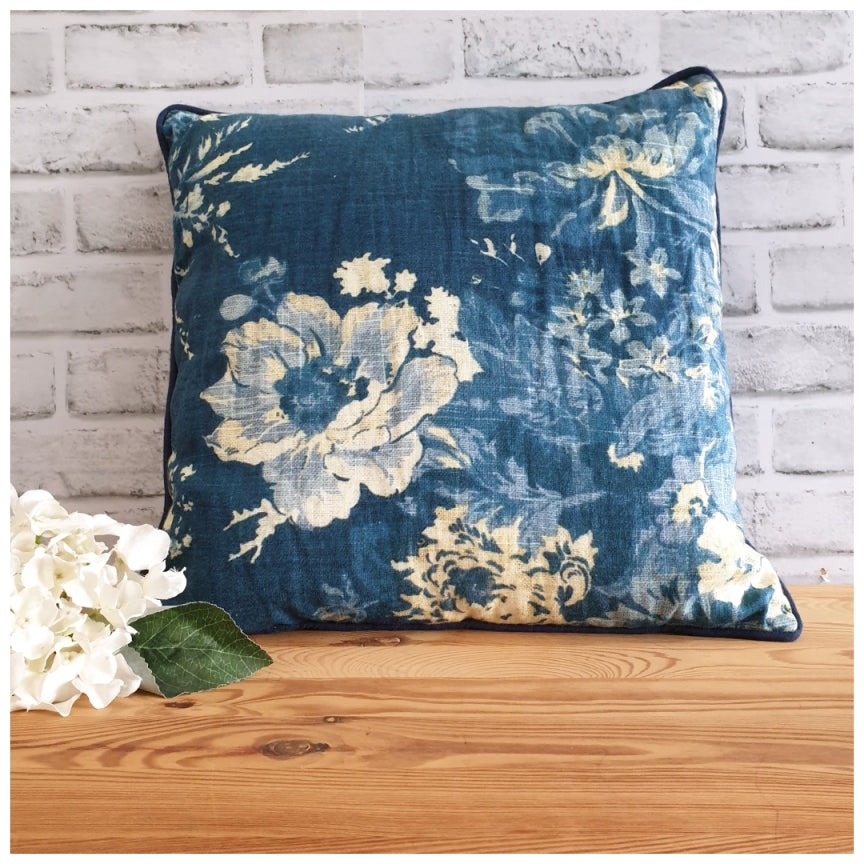 Cushion - Linen - Denim Blue Floral
