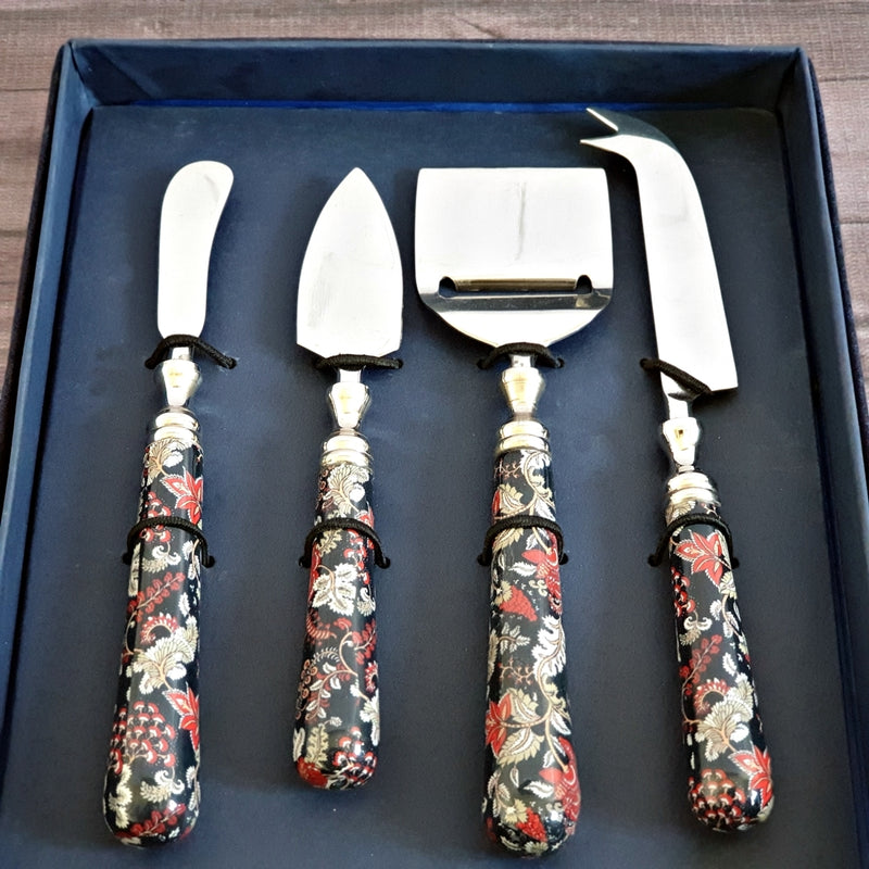 Cheese Knife Set (Set of 4) - Dark Blue Floral
