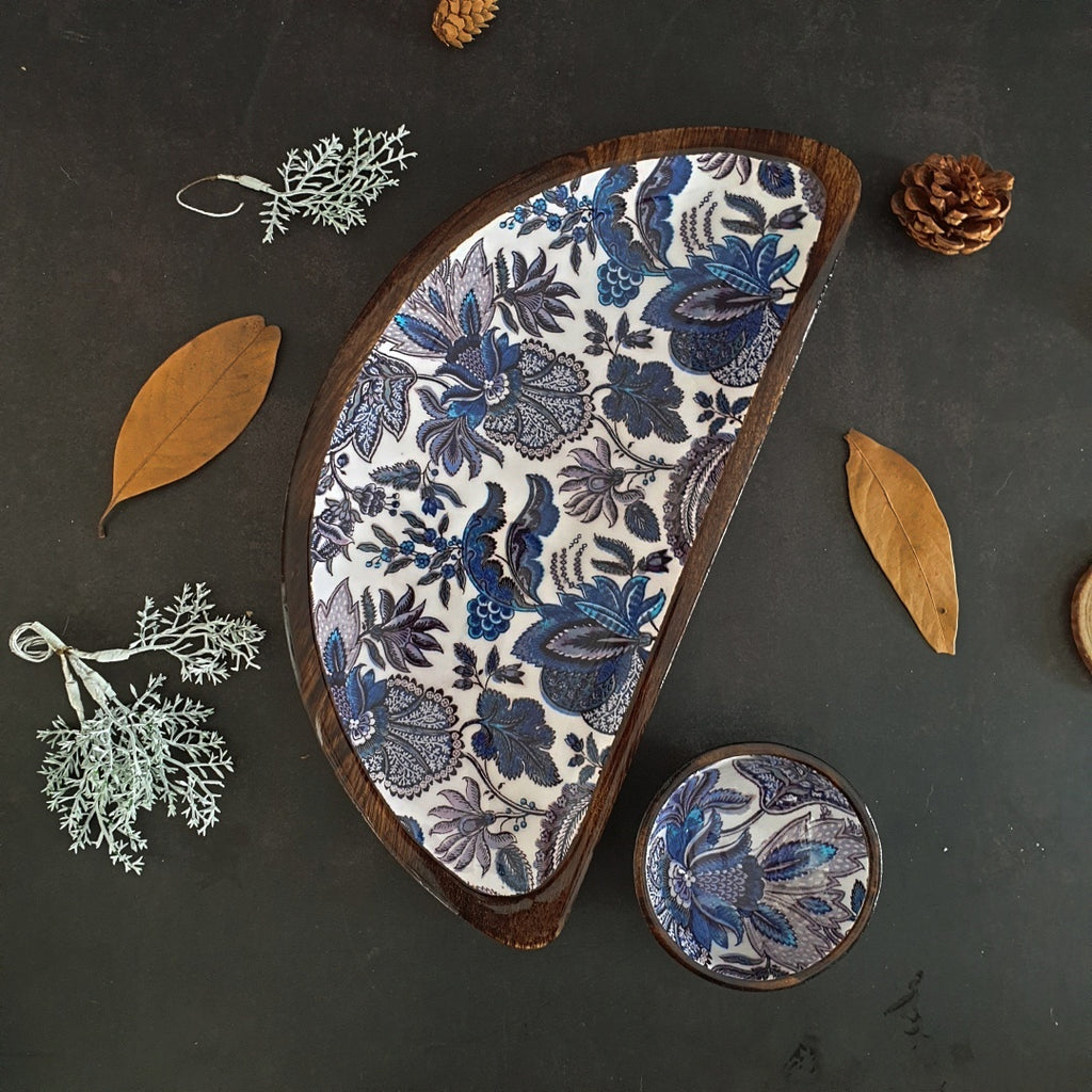 Platter - Half Moon Shape with Matching Bowl - Sapphire Collection
