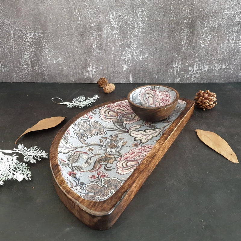 Platter - Half Moon Shape with Matching Bowl - Jaipur Collection