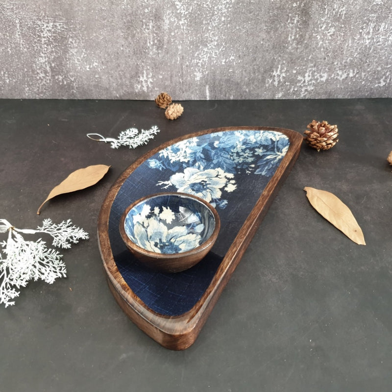 Platter - Half Moon Shape with Matching Bowl - Indigo Big Flower
