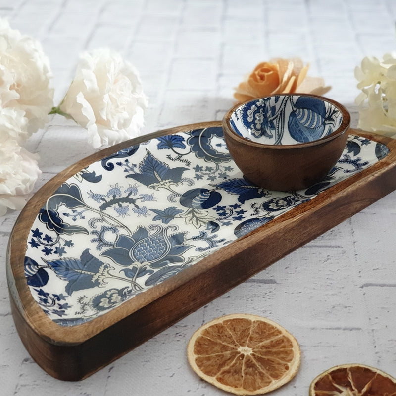 Half Moon Platter with Matching Bowl - Blue & White Acorn