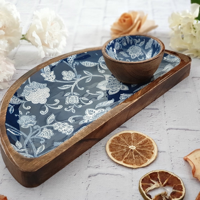 Cotton Blue Themed Half Moon Platter with Matching Bowl