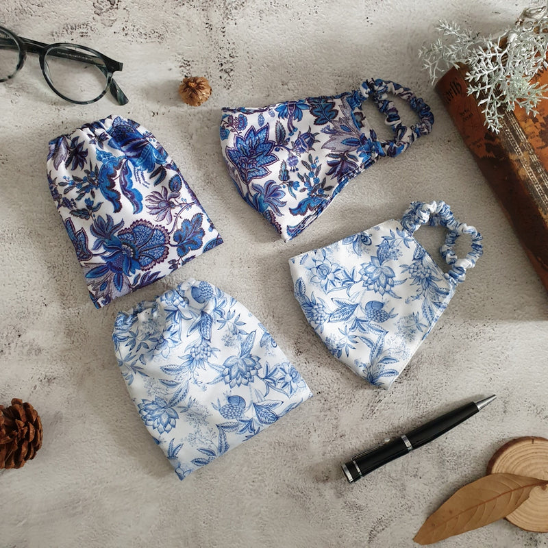 Faux Silk Printed, Sapphire & Summer Blue Face Masks with Matching Pouches - Set of 2