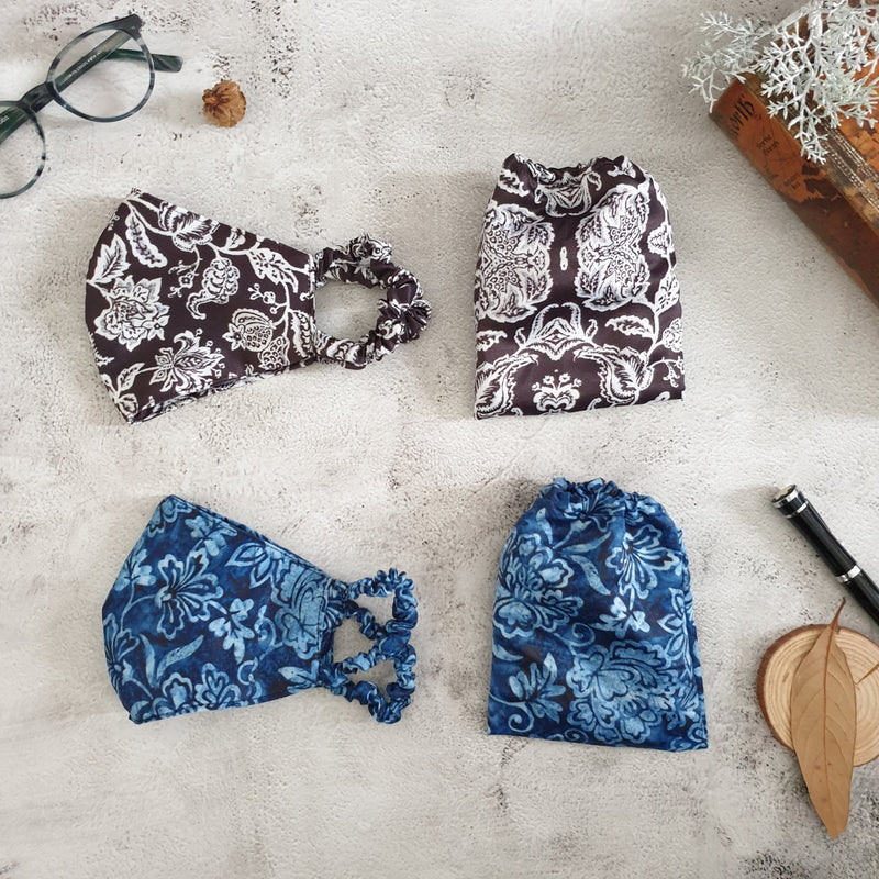Faux Silk Printed, Ink Ivy & Black Beauty Face Masks with Matching Pouches - Set of 2