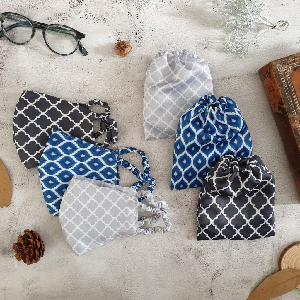 Faux Silk Printed, Geometric Face Masks with Matching Pouches - Set of 3