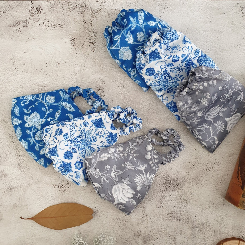 Faux Silk Printed, Cotton Blue, Floral Radiance & Water Lily Face Masks with Matching Pouches - Set of 3
