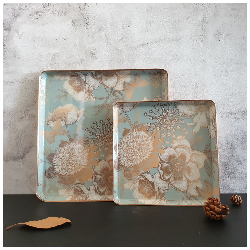Metal Platter & Tray (Square, Set of 2) - Summer Rain