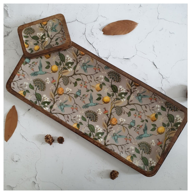 HUMMING BIRD COLLECTION RECTANGLE PLATTER WITH BOWL