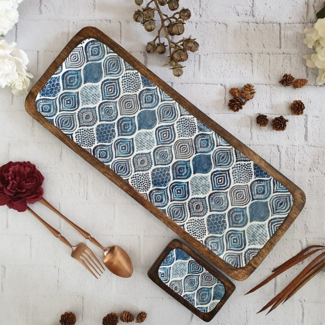 BLUE MANDALA COLLECTION RECTANGLE PLATTER WITH BOWL