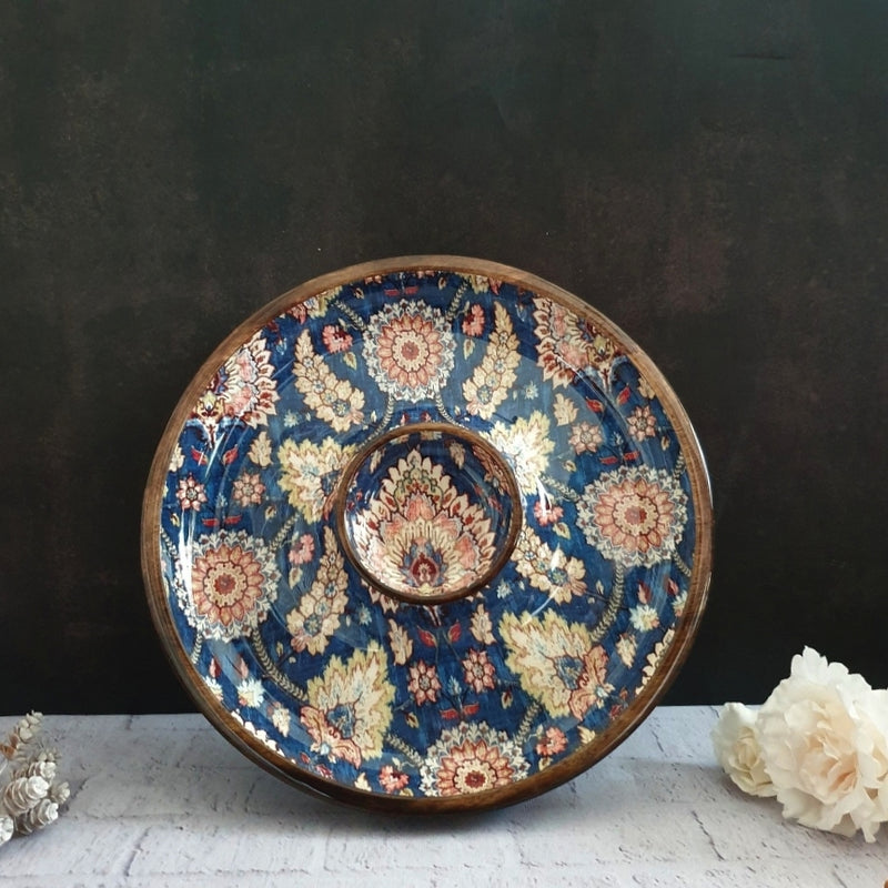 BLUE POPULAR COLLECTION CHIP & DIP PLATTER