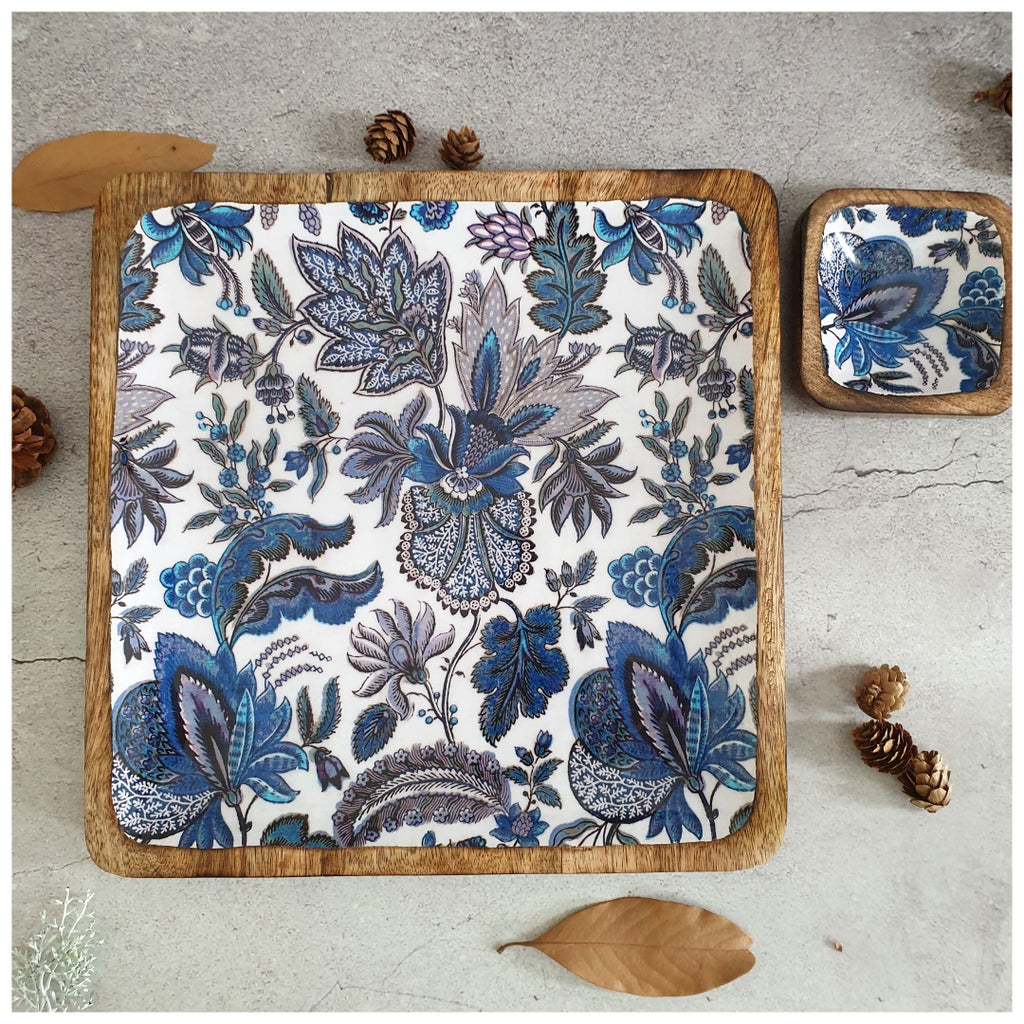 SQUARE PLATTER WITH BOWL - SAPPHIRE
