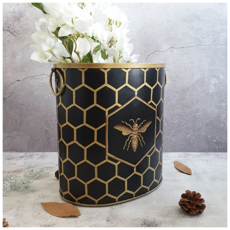 HAND PAINTED - PAPER BIN - EBONY HONEY COMB
