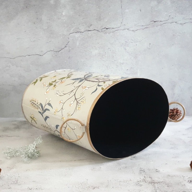 HAND PAINTED - PAPER BIN - GRAY BLOSSOM