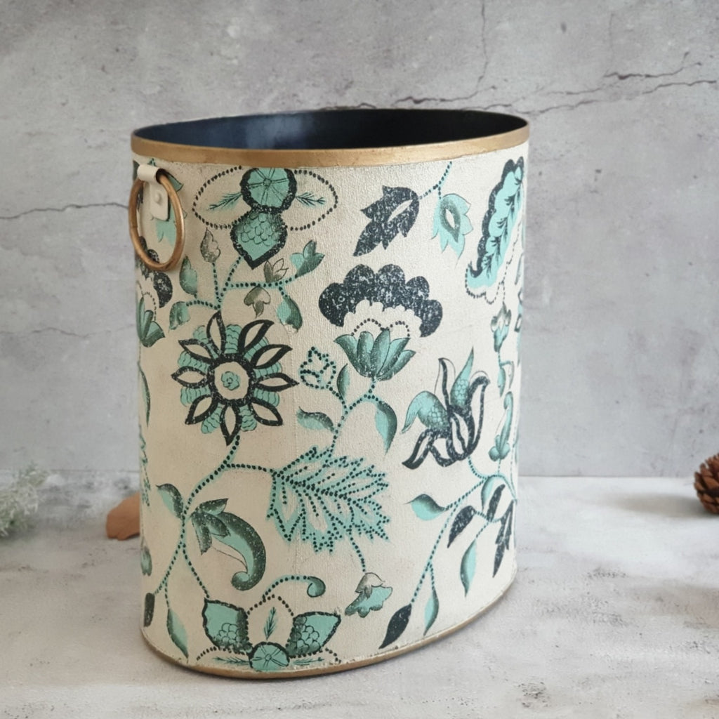 HAND PAINTED - PAPER BIN - FLORAL SERENITY DISTRESS VINTAGE