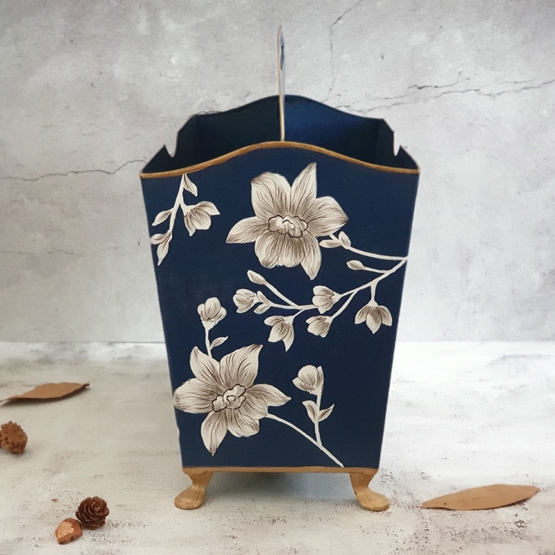 HAND PAINTED - MAGAZINE RACK - BLOOMING HIBISCUS