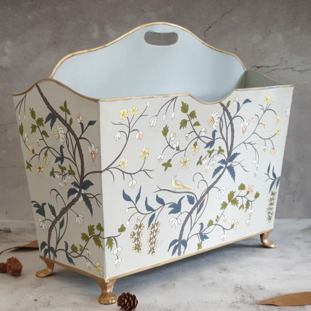 HAND PAINTED - MAGAZINE RACK - GREY BLOSSOM
