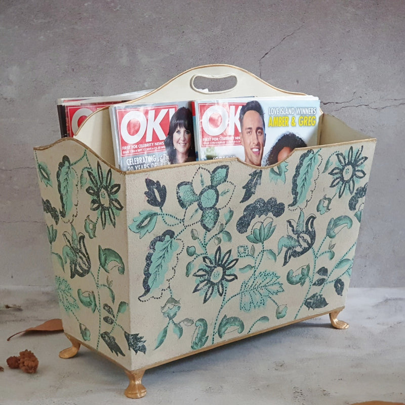 HAND PAINTED - MAGAZINE RACK - FLORAL SERENITY DISTRESS VINTAGE