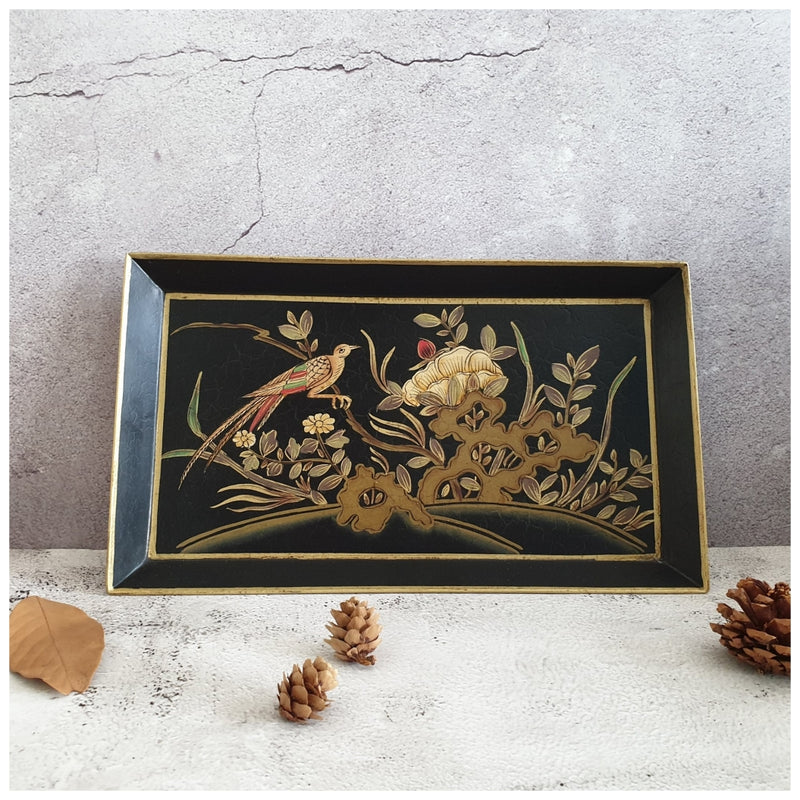 HAND PAINTED - PENCIL SHAPE TRAY - ENGLISH VINTAGE GARDEN