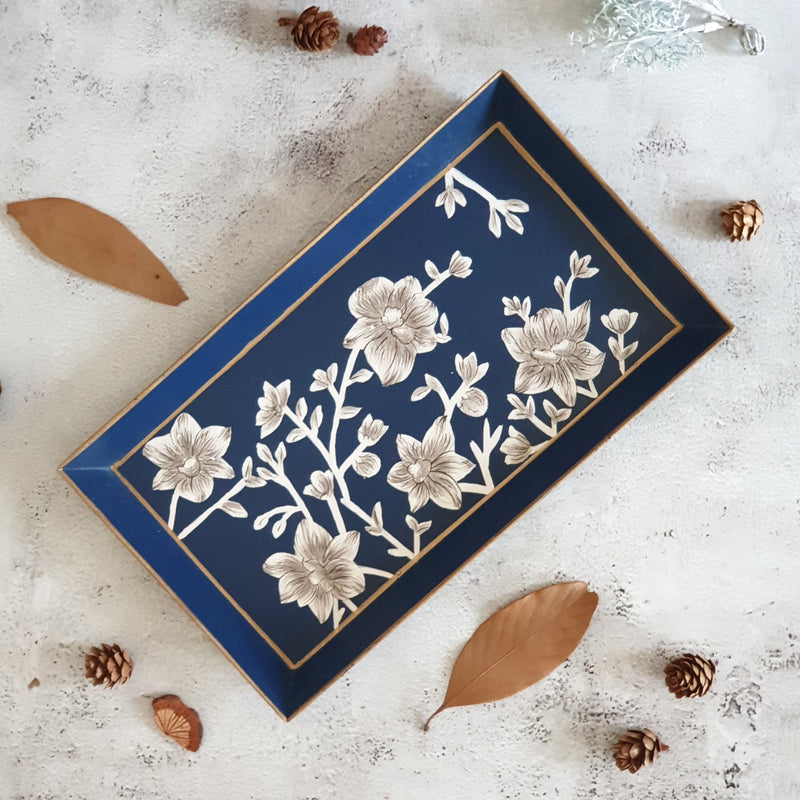 HAND PAINTED - PENCIL SHAPE TRAY - BLOOMING HIBISCUS