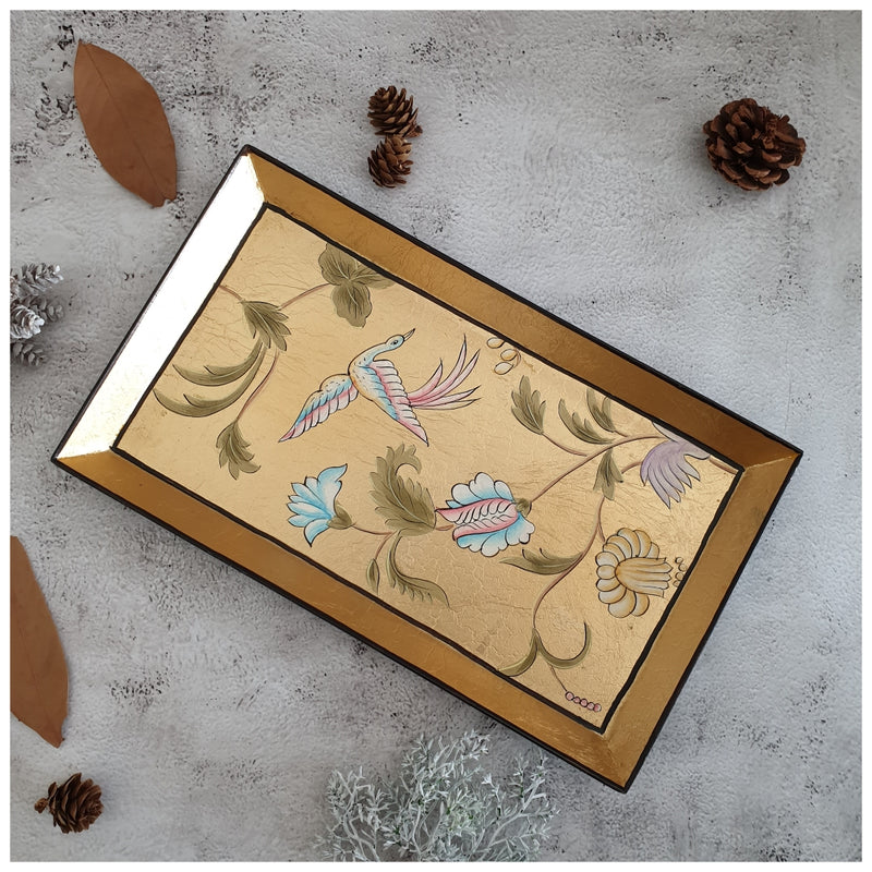 HAND PAINTED - PENCIL SHAPE TRAY - GOLDEN LEAF