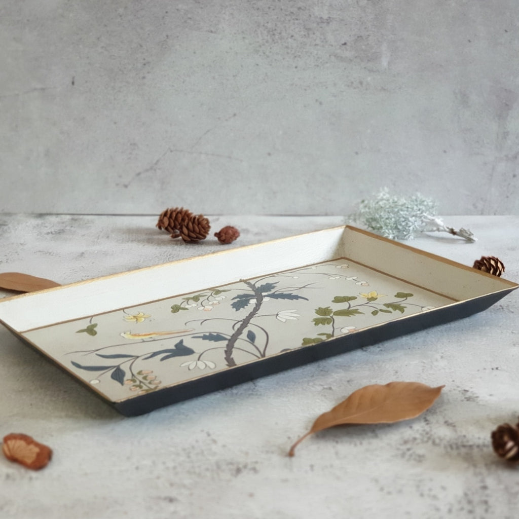 HAND PAINTED - PENCIL SHAPE TRAY - GREY BLOSSOM DESIGN
