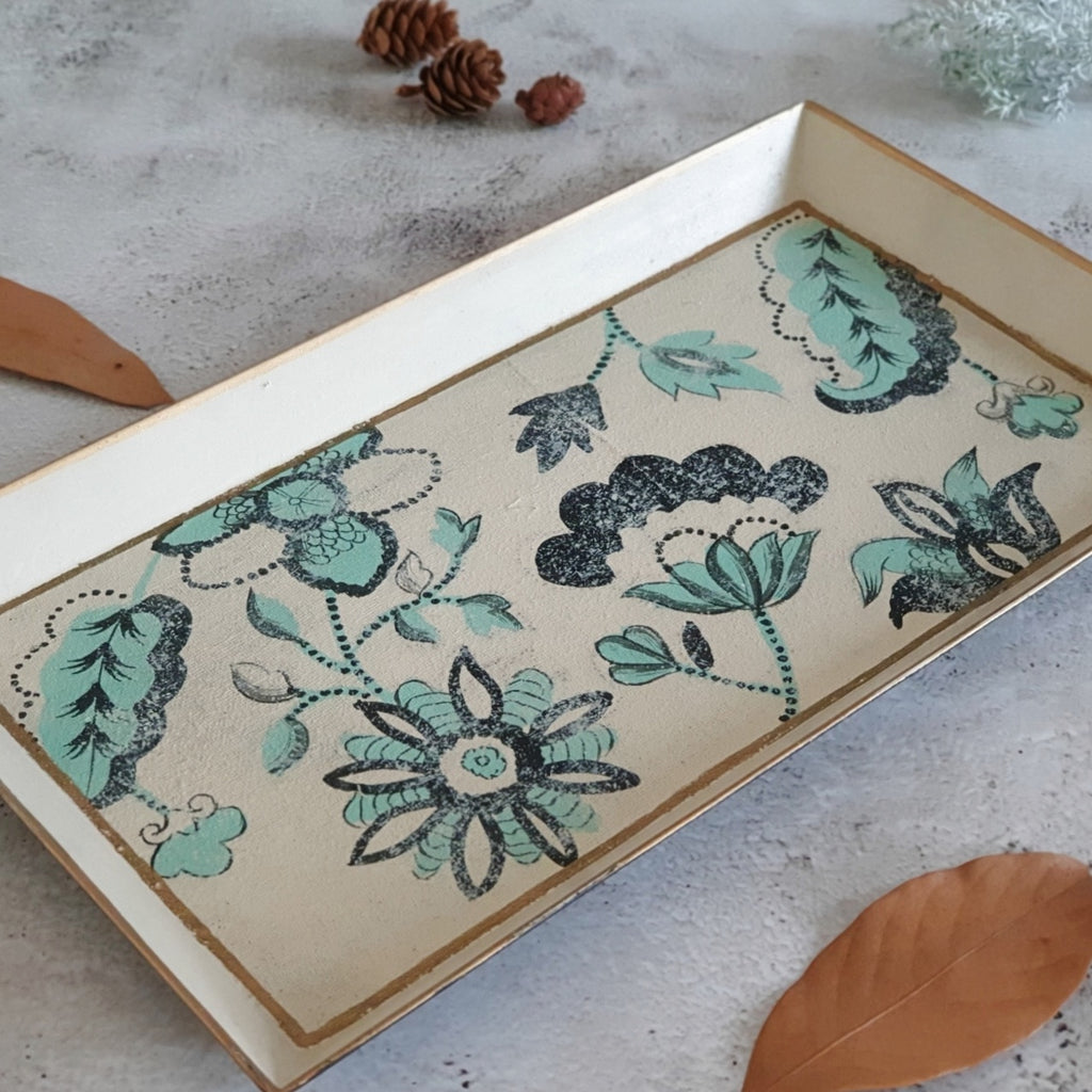 HAND PAINTED - PENCIL SHAPE TRAY - FLORAL SERENITY DISTRESS VINTAGE