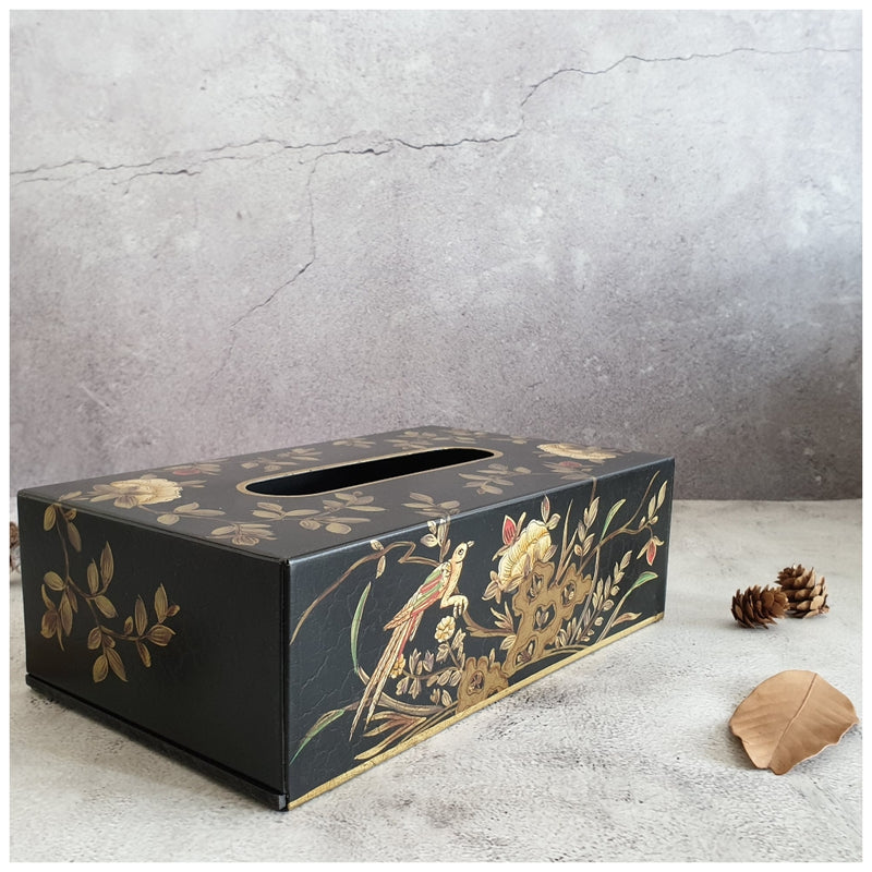 HAND PAINTED - TISSUE BOX - ENGLISH VINTAGE GARDEN