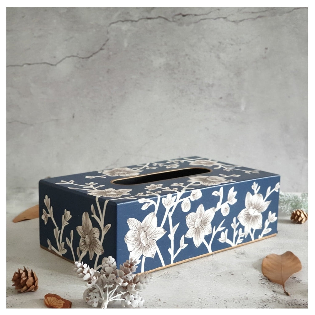 HAND PAINTED - TISSUE BOX - BLOOMING HIBISCUS