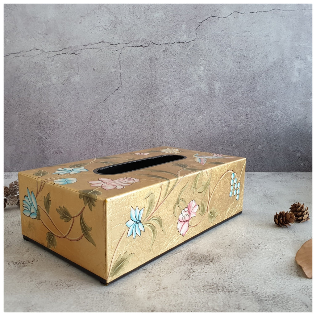 HAND PAINTED - TISSUE BOX - GOLDEN LEAF