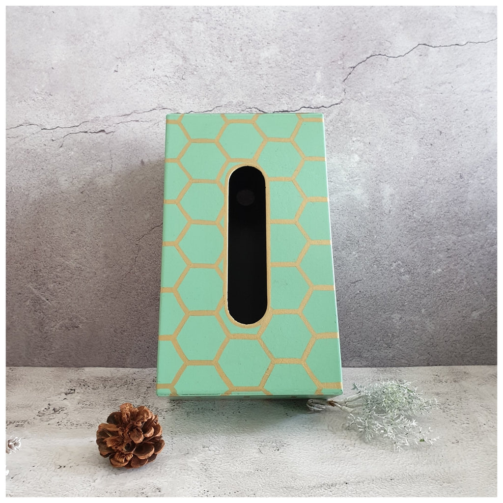 HAND PAINTED - TISSUE BOX - MINT HONEY COMB