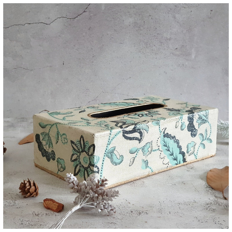 HAND PAINTED - TISSUE BOX - FLORAL SERENITY DISTRESS VINTAGE
