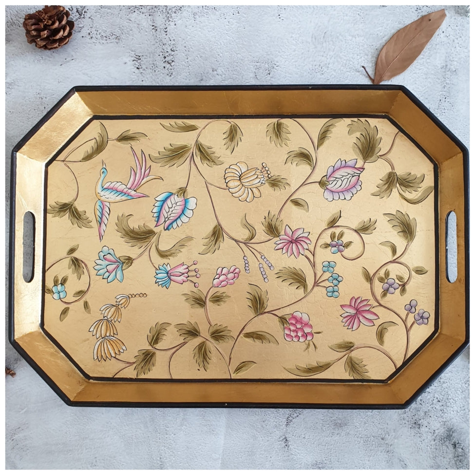HAND PAINTED - SERVING TRAY OCTAGONAL - GOLDEN LEAF