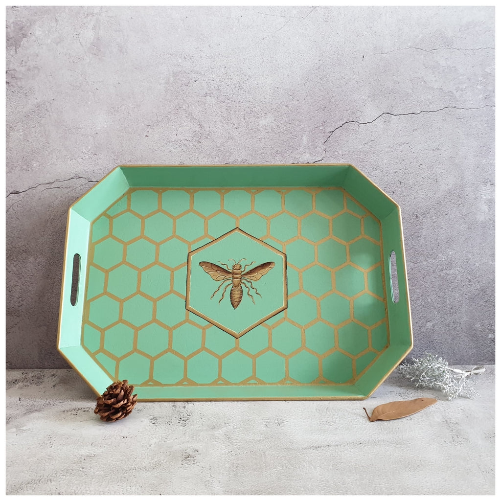 HAND PAINTED - SERVING TRAY OCTAGONAL - MINT HONEY COMB