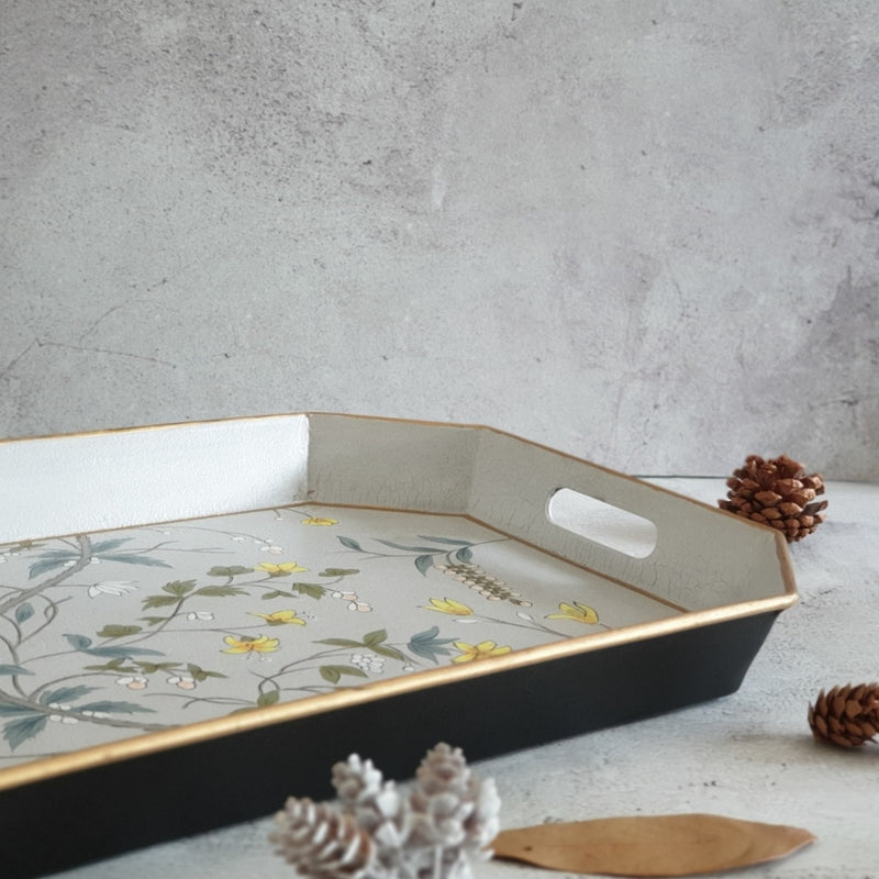 HAND PAINTED - SERVING TRAY OCTAGONAL - GREY BLOSSOM