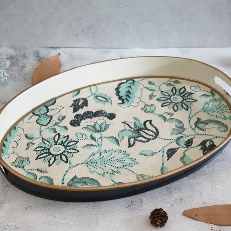 HAND PAINTED - SERVING TRAY OVAL SMALL - FLORAL SERENITY DISTRESS VINTAGE