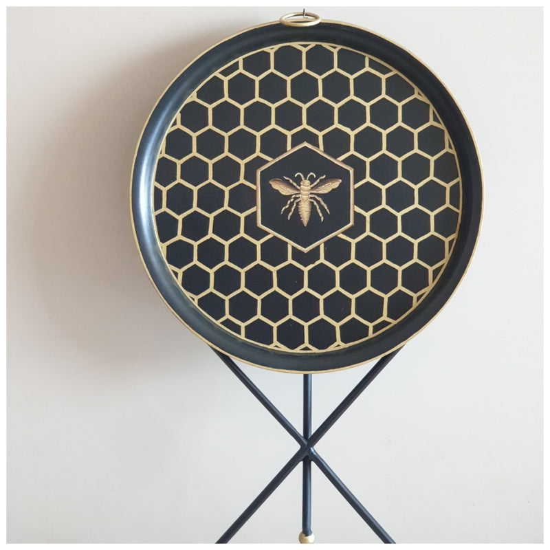 HAND PAINTED - TRIPOD STAND TABLE TOP - EBONY HONEY COMB