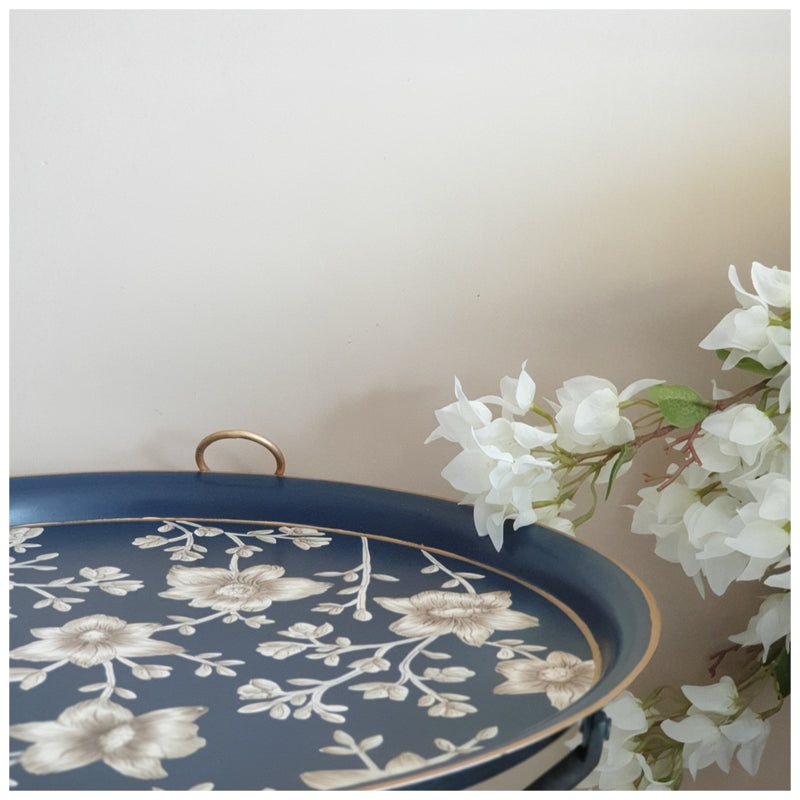 HAND PAINTED - TRIPOD STAND TABLE TOP - BLOOMING HIBISCUS
