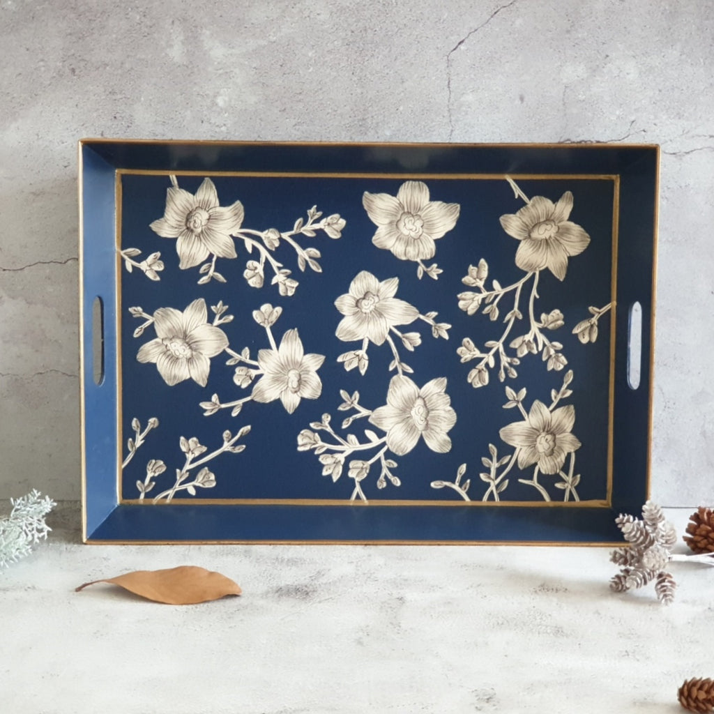HAND PAINTED - SERVING TRAY RECTANGLE - BLOOMING HIBISCUS